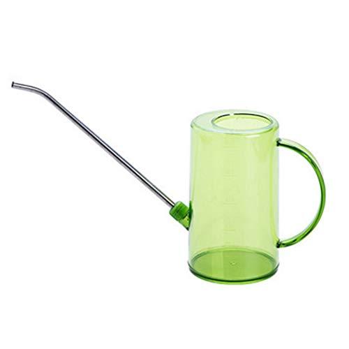 zxb-shop Regadera para Plantas 1L Transparente de riego plástica con Acero Inoxidable Boquilla, Gris Regadera Decorativa Flowers & Garden (Color : Green)