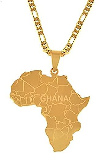 Aluyouqi Co.,ltd Collares Pendientes de mapas de África con Ghana para Mujeres, Hombres, Mapa de joyería Africana, Regalos, joyería de Color Dorado