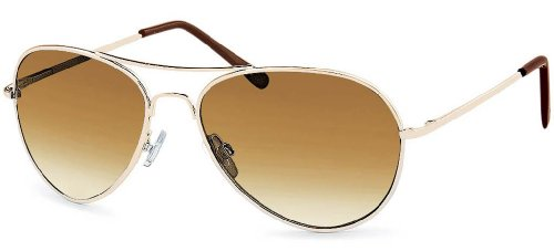 FEINZWIRN Sonnenbrille Pilotenbrille mit braunem Verlaufglas Brillenbeutel aus Microfaser