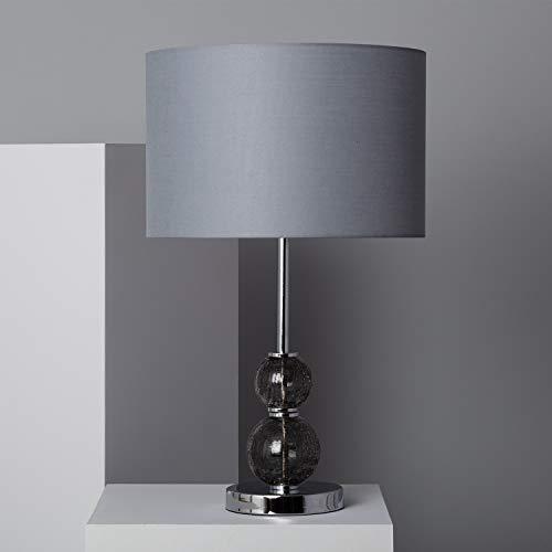 LEDKIA LIGHTING Lámpara de Mesa Teine 620x380x380 mm Gris E27 Casquillo Gordo Cristal Decoración Salón, Habitación, Dormitorio