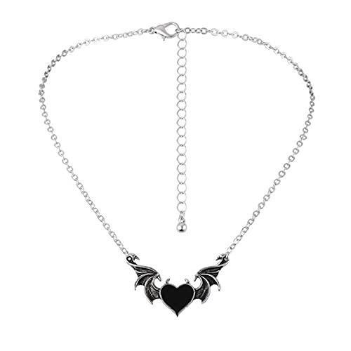 FOLENZU Collar de alas de Demonio con Personalidad, corazón Punk, alas de Diablo, Collar de corazón de Diablo, corazón de melocotón, Colgante de ala de Demonio, joyería
