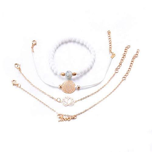Nobrand 4 unids/Set Bohemio Lotus Flor Cuentas Pulseras para Mujeres Vintage Moda Perlas hebras brazaletes brazaletes Conjuntos Regalo de joyería