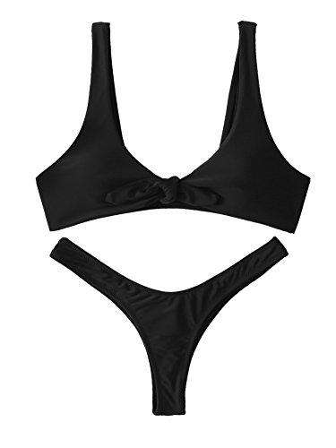 SweatyRocks Women's Sexy Bikini Swimsuit Soild Color Tie Knot Front Thong Bottom Swimwear Set Black M