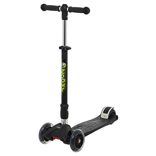 Zoomy Leisure Kids Maxi Scooter with LED Light-Up Wheels, Folding, Adjustable Height for Kids 3-8 - Black