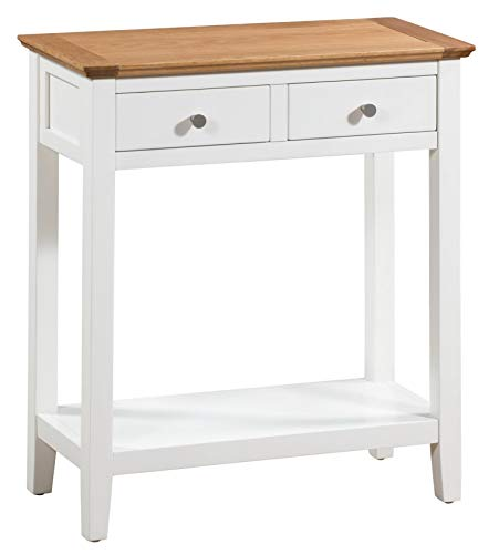 Hallowood Clifton Large Console Cream Wooden Hallway/Side/End/Telephone/Lamp Table Desk with 2 Drawer and Shelf, White Painted Body with Light Oak Top, CLF-CON700