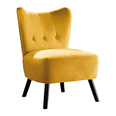 Lexicon Vada Tufted Velvet Accent Chair, 22.5″ W, Yellow