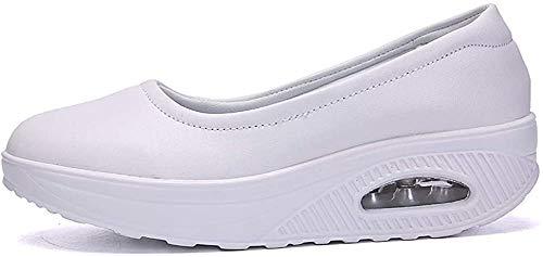 Aitaobao Zapatos de Mocasines Mujer Casuales Plataforma Zapatillas Antideslizante Calzado de Planos Cuero Modo Blanco 37 EU