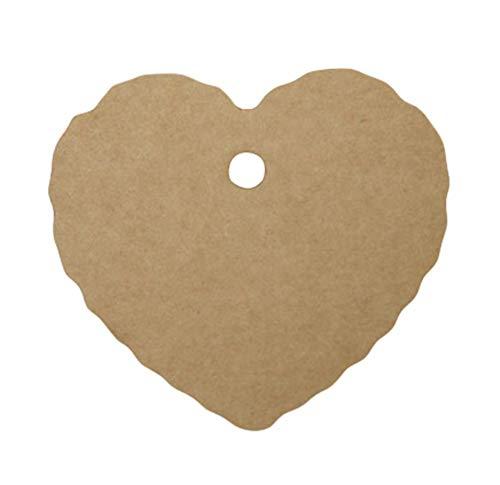 BigBigShop 100 stuks dag kaart hartvorm kraftpapier lege dag, bladwijzer cadeaukaart chocolade verpakking kaart, drift flessenkaart papieren hanger (wit) bruin