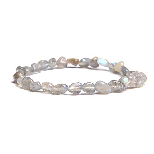 LWSHOP LYRStore886 Natural Rose Gold Bead Pulsera Pulsera Pulsera Moda Simple Elástico Pink Crystal Beaded Woman Brazalet Mano de Obra Exquisita, práctica (Color : 23CM, Size : Labradorite)