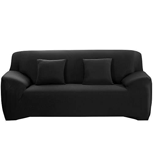 HALOVIE Housse de Canapé Extensible Protection du Sofa Universelle Revêtement de Canapé avec Taie d'oreiller Housse de Fauteuil Confortable dans Le Salon Chambre Maison Noir- 3 Places (195-230CM)