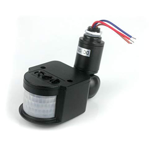 Taikuwu Interruptor de sensor de movimiento PIR infrarrojo automático de 12 V para luz LED (negro)
