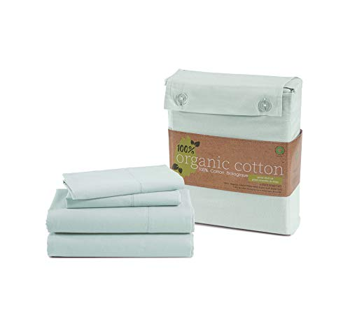 100% Organic Cotton Mineral Queen-Sheets Set, 4-Piece Pure Organic Cotton Long Staple Percale Weave Ultra Soft Best Bedding Sheets for Bed, Breathable, GOTS Certified, Fits Mattress Upto 15' Deep