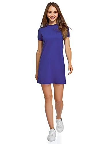 oodji Ultra Mujer Vestido Holgado de Punto, Azul, ES 36 / XS