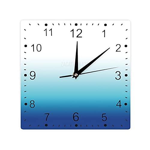 Pealrich Reloj de pared cuadrado de madera de granja, turquesa azul turquesa azul eléctrico, color degradado, 12 pulgadas, reloj decorativo para cocina, sala de estar, decoración rústica del hogar