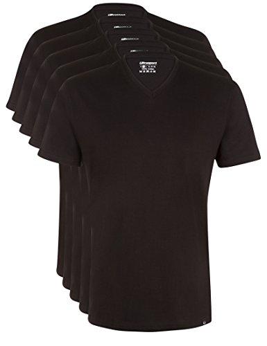 Ultrasport Herren Sport Freizeit T-Shirt mit V-Ausschnitt 5er Set, Schwarz, M