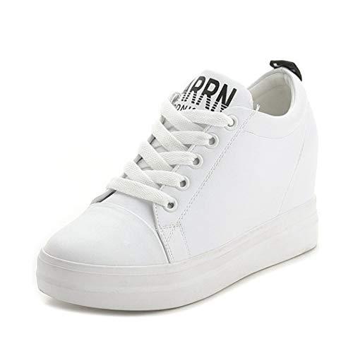 Zapatos De Cuña De Plataforma para Mujer Zapatos De Jogging Blancos con Cordones Internos Aumentados Zapatillas De Deporte Cómodas Zapatillas De Muffin con Punta Redonda