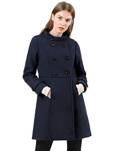 Allegra K Damen A Linie Stehkragen Button Trenchcoat Mantel Blau XL