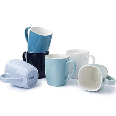Sweese 612.003 Porcelain Mugs - 15 Ounce Perfect for Coffee, Tea, Cocoa, Oatmeal, Set of 6, Cool Assorted Colors