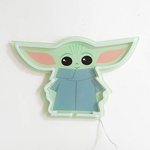 """Idea Nuova Star Wars: The Mandalorian Featuring The Child LED Neon Figural Mounted Wall Art, 11.8"""" L x 7.56"""" H x .55"""" D"""