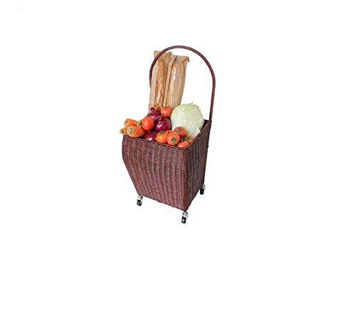 Carrito de la compra de mimbre para el hogar, compra un pequeño carro de tracción de verduras tirar manualmente del carro carro carro de carro (color: marrón)