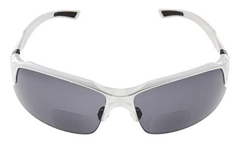 Eyekepper TR90 Unzerbrechliche Sport Bifocal Sonnenbrillen Baseball Laufen Angeln Fahren Golf Softball Wandern Halbrand Lesung Brille Silber Rahmen grau Lens +2.0