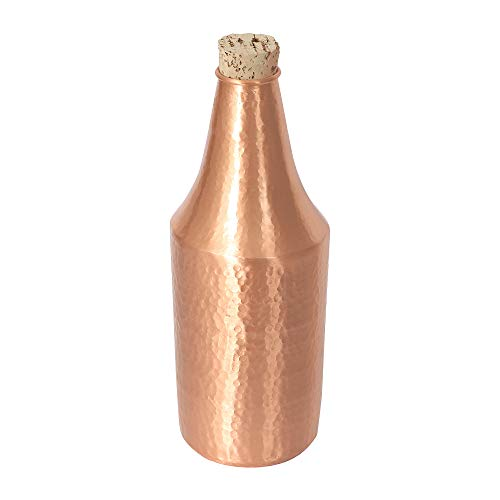 Copper Bottle With Cork Pure Hand Hammered 750.ml For Good Health Ideal For New Year Birthday Mother's Day Father's Day Gift For Girl Woman Boy Man (Brown)