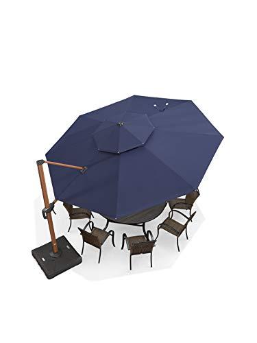 PURPLE LEAF Ombrellone rotondo da 365 cm, con motivo in legno, per esterni e ambienti esterni, colore: blu navy