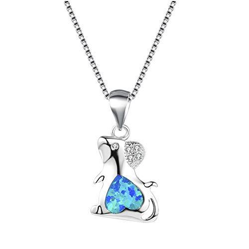 GAOHONGMEI Nette Mausform Blue Fire Opal Strass Anhänger Halskette Schmuck-925 Sterling Silber Hypoallergene verstellbare Schlüsselbeinkette-blue-One size