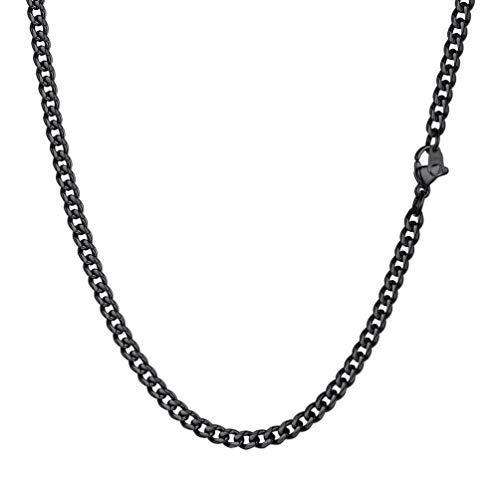 PROSTEEL Herren Kette Collier schwarz Edelstahl 46cm/18 in. Panzerkette Halskette 3mm breit kubanische Gliederkette Hip Hop Cuban Link Necklace Modeschmuk Männer Frauen