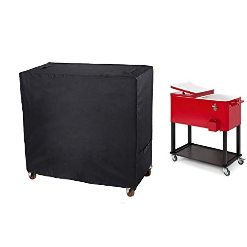 Patio Cooler Cart Cover, Outdoor Cooler, Bar Cart, Burner Covers, Universal Outdoor Waterproof Protective Cover Fit for Most 80 QT Rolling Cooler for Beverage Cart, Rolling Ice Chest, Party Cooler