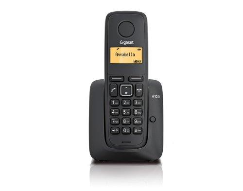 Gigaset A120 - Teléfono fijo inalámbrico (con pantalla), color negro