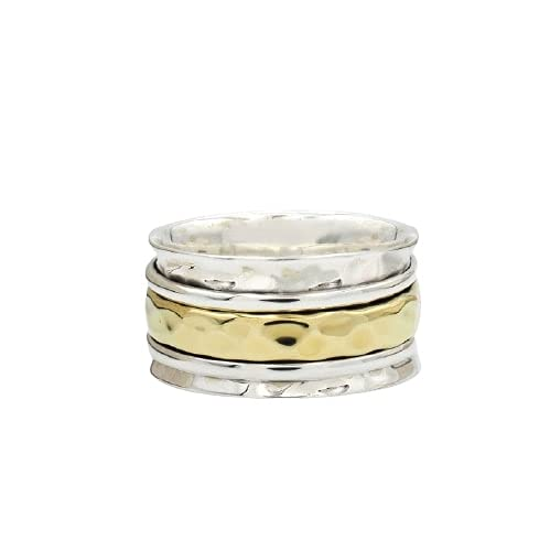 925 Sterling Department store Silver Spinner Wide Band Ring Texture Animer and price revision Floral Spinne