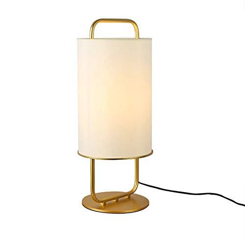 KTops Nordic postmoderne Nachttischlampe Runde Tuch Lampshade Gold-Schmiedeeisen-Schreibtisch-Licht Tischleuchte Schlafzimmer Wohnzimmer Nachtlichter, Hoch 26inch