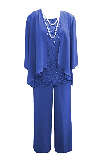 PrettyGirl Dress Women's 3 Pieces Lace Mother Of Bride Dress Pant Suits With Jacket For Wedding Groom