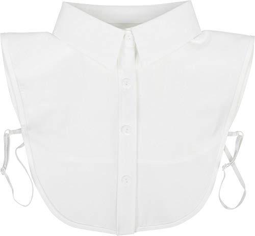styleBREAKER Damen Blusenkragen Einsatz mit Knopfleiste Unifarben, Kragen für Blusen und Pullover 08020004, Farbe:Weiß
