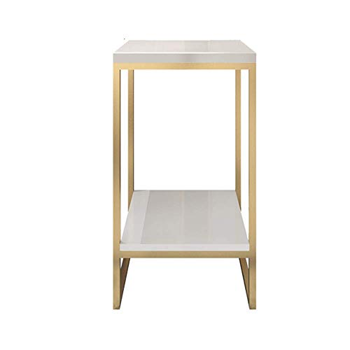 AI LI WEI Household Products/Furniture 2 Capa Plaza Tabla Laterales de Esquina Tabla Arte del Hierro Soporte de exhibición del Estante de 30 x 30 x 80 cm (Color: Oro) (Color : Gold)