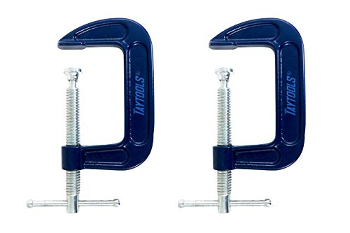 2 Pack Taytools 4 Inch C Clamps Malleable Steel Frame Power Coated Acme Threads Zinc Plated Carbon Steel Spindle and Sliding Bar (2, 4 inch)