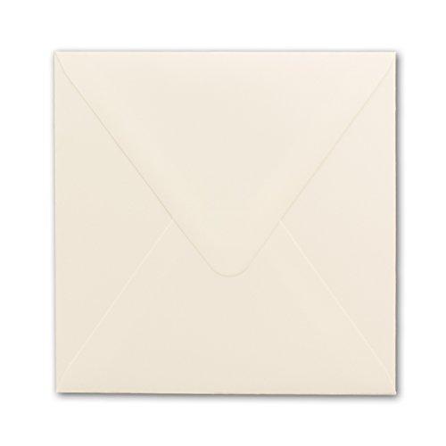 Briefumschläge Quadratisch 15 x 15 cm - Creme-Weiß - 25 Stück - Für ganz besondere Anlässe - 120 g/m² - Nassklebung