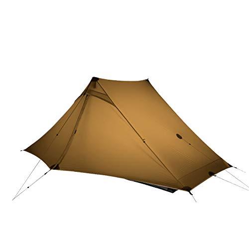 3F UL GEAR LanShan 2 pro Tent 2 Person Outdoor Ultralight Camping Tent 3 Season Professional 20D Nylon Both Sides Silicon Tent (Khaki, 3 Season)
