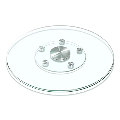 Glass Lazy Susan Turntable for Patio Table Garden Table Glass Serving Turntable Diameter 23/27/31/35/39inch 360-Degree Rotating