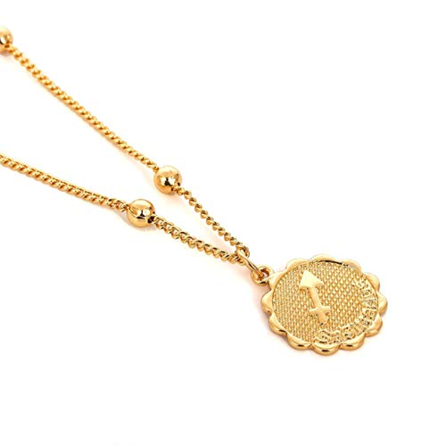AQUALITYS Ingemark 12 Zodiac Constellation Carve Coin Pendant Necklace Simple Copper Leo Beads Clavicle Chain Necklace Sexy Couple Jewelry