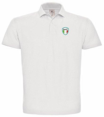 subla2017 Vespa Scooter Bestickte Poloshirt, super Premium-Qualität, 100% Baumwolle -085 -WEIß (XXL)