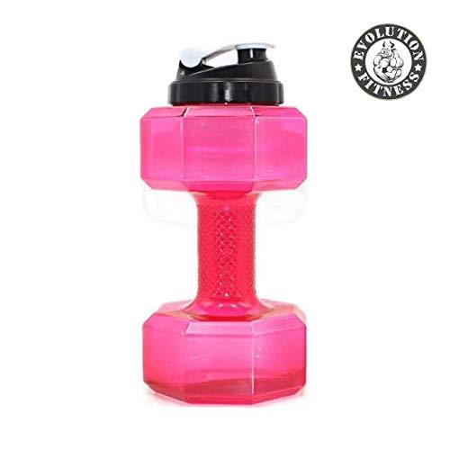 Evolution Fitness Sports Exercise Gym Dumbbell Water Bottle for Women 2.2L (Pink)