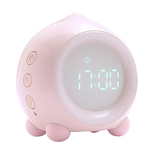 Kinderen Sleep Trainer Wekker Lichtregeling Slimme wekker Intelligent nacht LED-licht Woondecoratie klok, roze