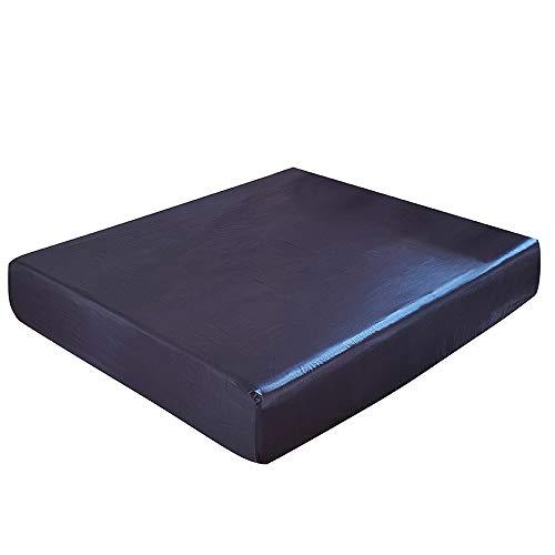 DOMDIL- Sábana Bajera Ajustable de satén, Antiarrugas, Suave y cómoda, 150 x 200 cm, Azul Oscuro