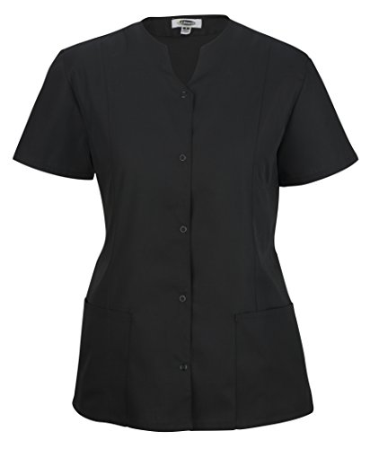 Averill's Sharper Uniforms Women's Ladies Extreme Housekeeping Snap Front Tunic with Two Pockets, Medium(12-14), Black