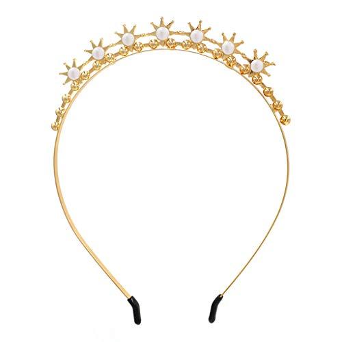 YFairy Damen Brautschmuck Haarreif Barock Stirnschmuck Metall Stirnband Kunstperle Strass Sonne Hochzeit Styling Tiara Krone Kopfschmuck B
