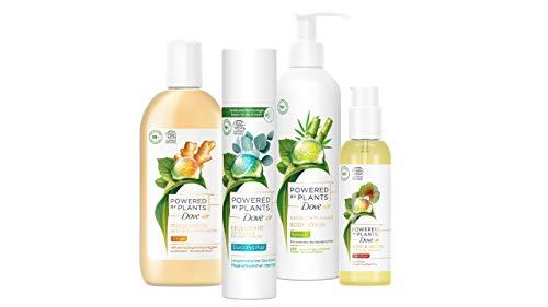 Dove Powered by Plants Pflegeset mit 4 Produkten (Ginger Duschgel, Eucalyptus Deo Spray, Bamboo Body Lotion & Geranium Body- & Haaröl), vegane Naturkosmetik