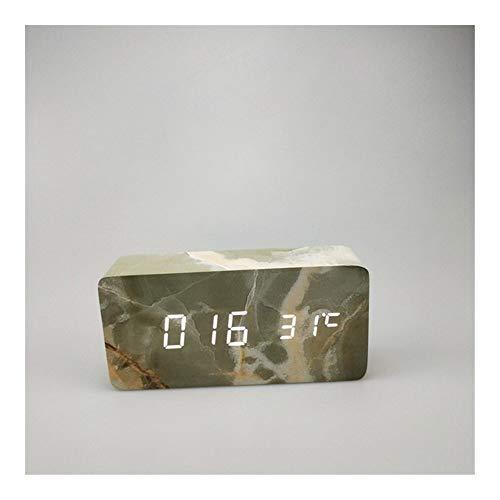 Electrodomésticos Rectángulo de madera de mármol del modelo digital de alarma de temperatura del LED del reloj de madera retro del resplandor Reloj de mesa de escritorio decoración del escritorio Herr