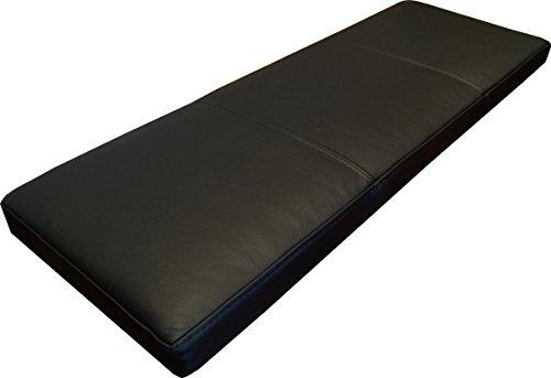 Quattro Meble Schwarz Echtleder Bankauflage Sitzkissen Lederkissen Sitzpolster Bank Auflage doppelt genähtes Echt Leder Kissen Sitzauflage (35 x 80 cm)